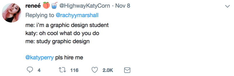 Text - @HighwayKatyCorn Nov 8 reneé Replying to @rachyymarshall me: i'm a graphic design student katy: oh cool what do you do me: study graphic design @katyperry pls hire me ti116 2.0K