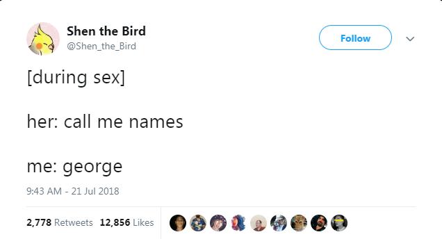 Text - Shen the Bird Follow @Shen_the_Bird [during sex her: call me names me: george 9:43 AM - 21 Jul 2018 2,778 Retweets 12,856 Likes