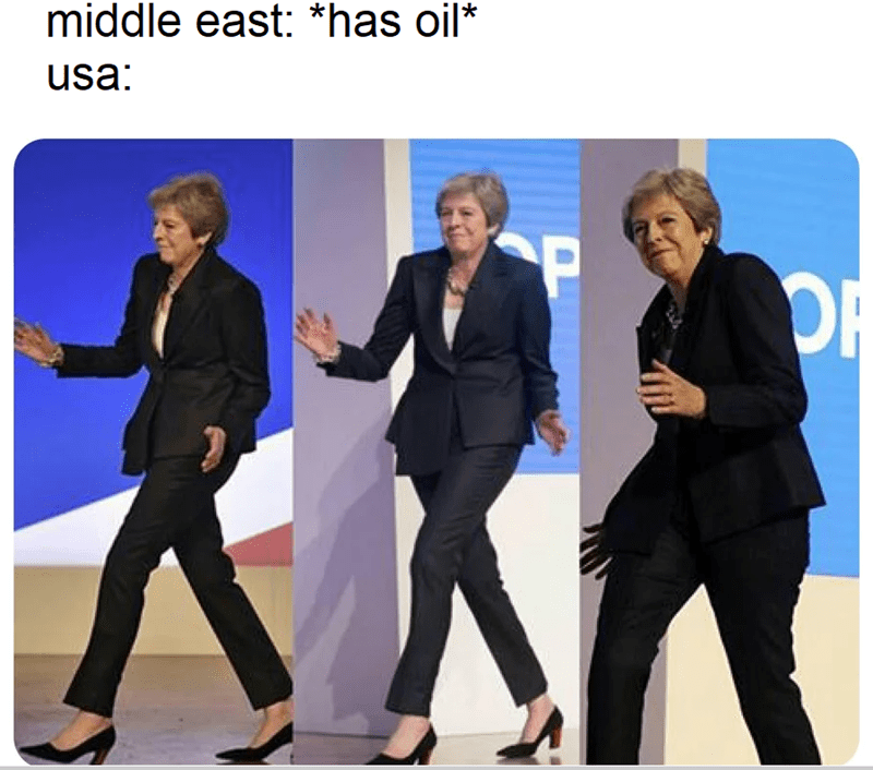 funny meme, tehresa may and oil