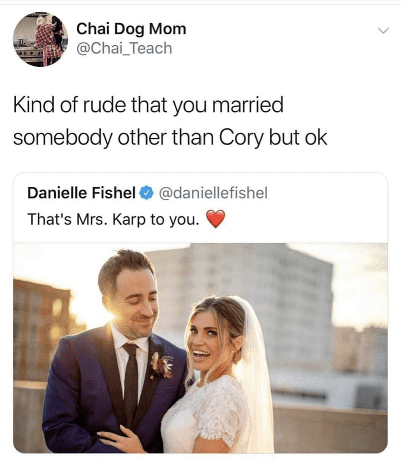 """Danielle Fishel from Boy Meets World tweets that she got married, someone comments, """"Kind of rude that you married someone other than Cory but okay"""""""