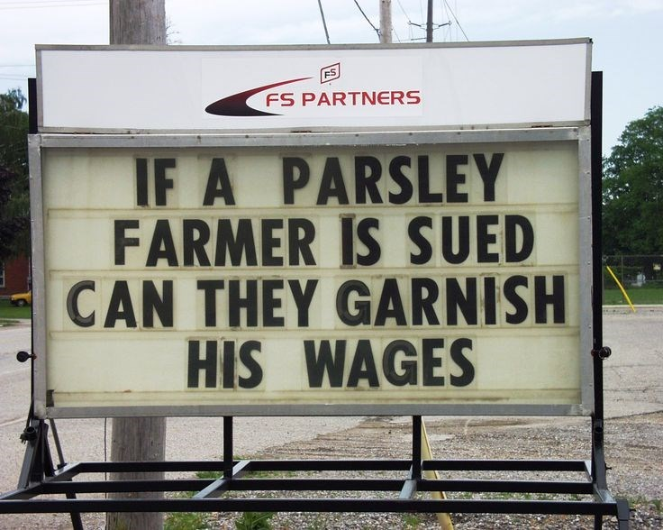 Text - ES FS PARTNERS IF A PARSLEY FARMER IS SUED CAN THEY GARNISH HIS WAGES