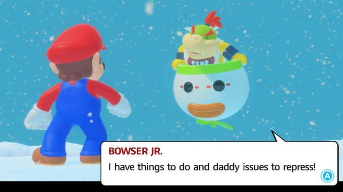 picture of Bowser Jr telling Mario he has daddy issues