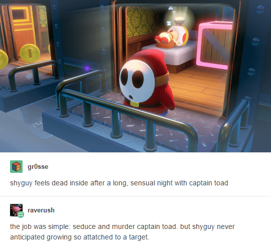 Tumblr thread giving up sex spy backstory to shyguy based on screenshot from Captain Toad game