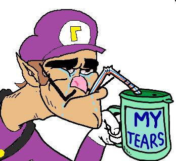 drawing of sad Waluigi drinking tears from mug