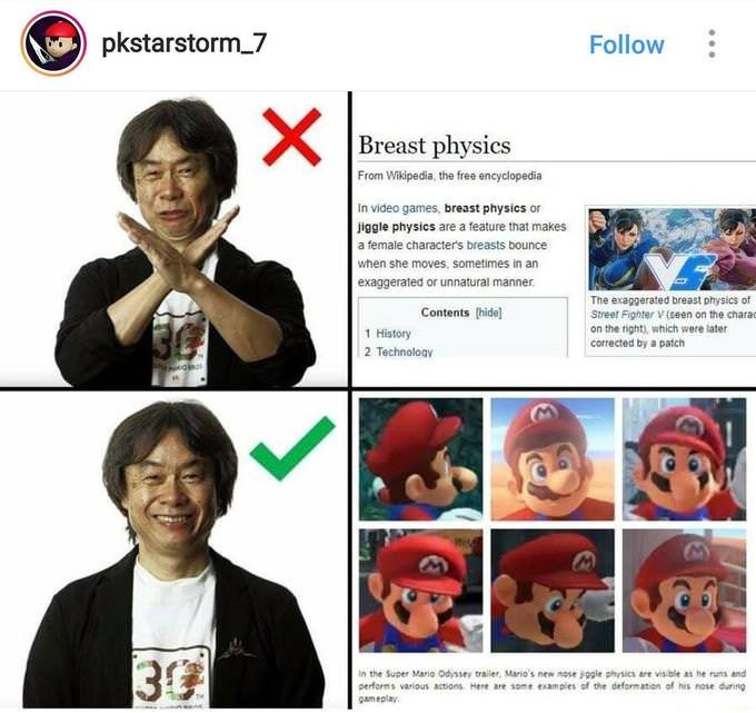 meme about Mario creator Shigeru Miyamoto forgoing breast physics in favor of nose physics