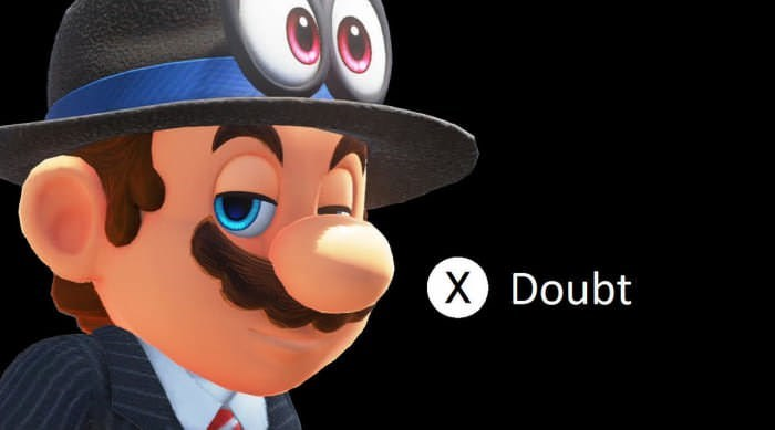 """Mario looking doubtful with """"doubt"""" action button"""