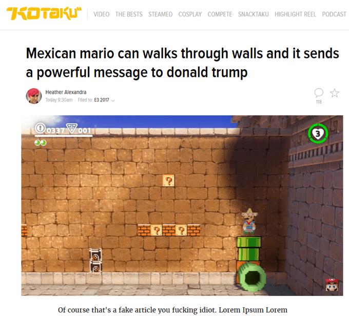 headline about Mexican Mario game where he can walk through walls as a joke on Trump