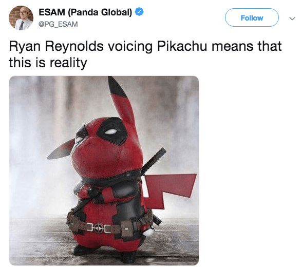 Tweet with photoshopped picture of Pikachu in Deadpool outfit