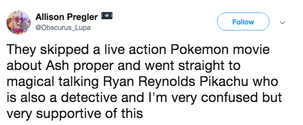 Tweet about the first live action Pokemon movie being about talking Pikachu voiced by Ryan Reynolds