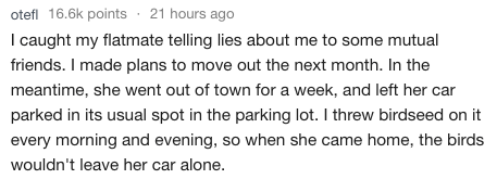 askreddit - Text - otefl 16.6k points 21 hours ago I caught my flatmate telling lies about me to some mutual friends. I made plans to move out the next month. In the meantime, she went out of town for a week, and left her car parked in its usual spot in the parking lot. I threw birdseed on it every morning and evening, so when she came home, the birds wouldn't leave her car alone.