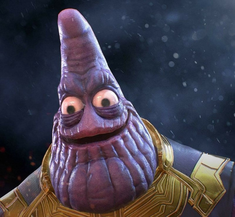 Thanos photoshopped to look like realistic Patrick from Spongebob