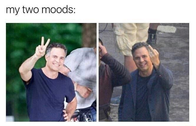 my two moods represented by pictures if Mark Ruffalo giving the camera the victory sign and flipping it off