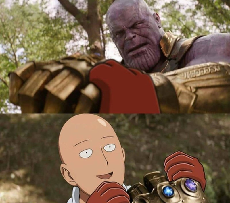 two panel comic of One Punch Man easily stopping Thanos