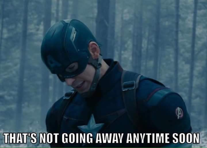 Captain America looking down saying something will not go away soon