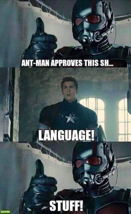 meme about Captain America telling other superheroes to watch their language