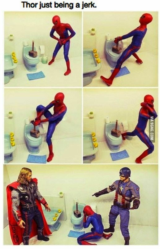 comic with action figures showing Thor being a dick by using his hammer to block the toilet