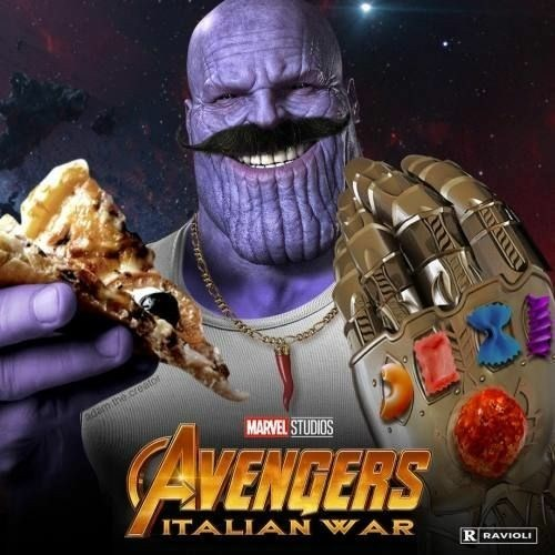 Avengers Infinity War parody with Italian Thanos wearing Infinity gauntlet made of different pasta