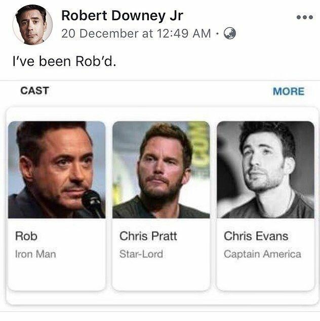 "Facebook post from Robert Downey Jr making pun about being ""robbed"" when he's credited as ""Rob"""