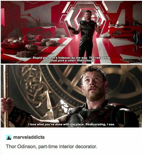 Tumblr post making fun of Thor making comments about interior design in Ragnarok movie