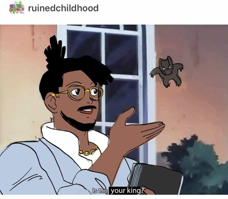 is this a pigeon meme about Killmonger questioning the legitimacy of T'Challa's rule