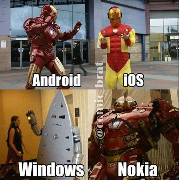 phone brands represented by varying success levels of Iron Man cosplay costumes