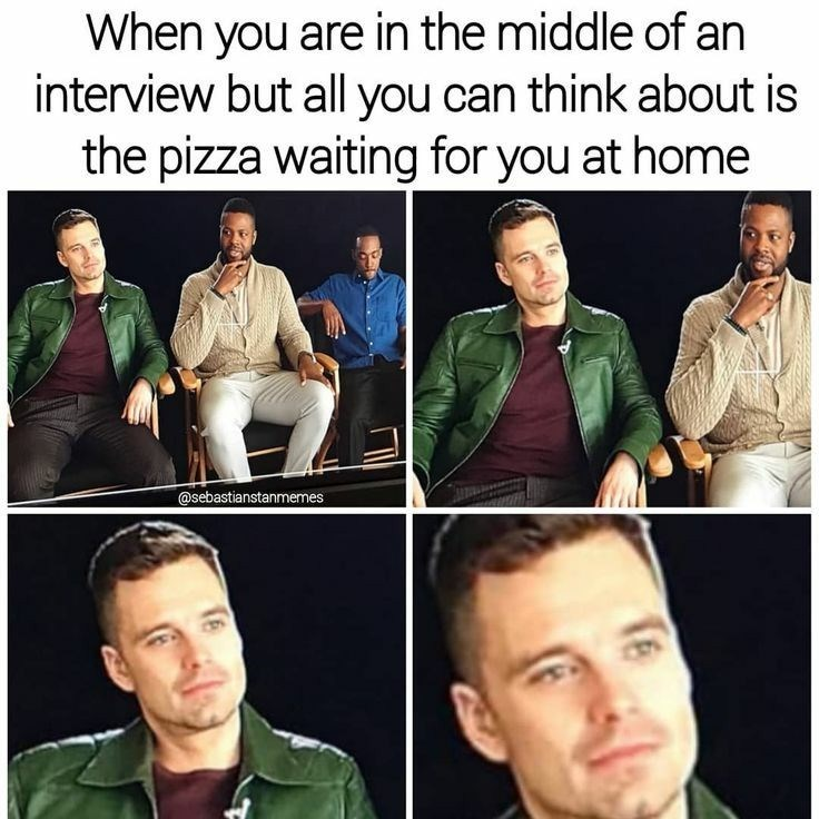 zoom ins on Sebastian Stan's face staring ahead longingly during interview as he thinks of pizza
