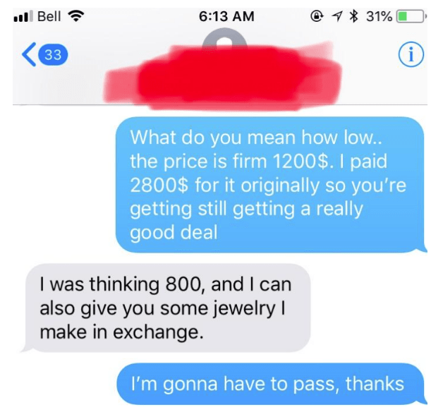 chat between buyer and seller with buyer trying to offer handmade jewelry instead of money