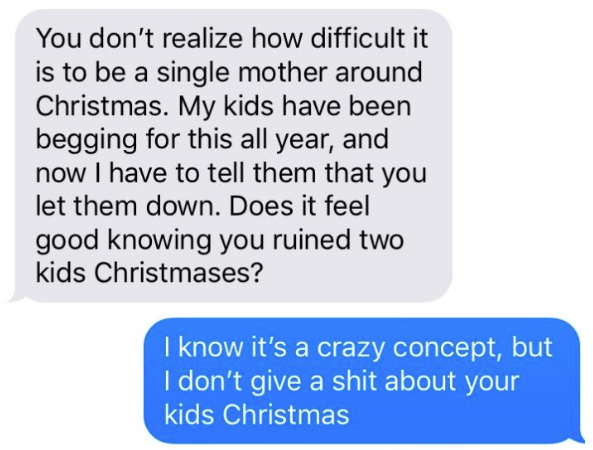 message from single mother trying to guilt person into selling her his iMac for cheap