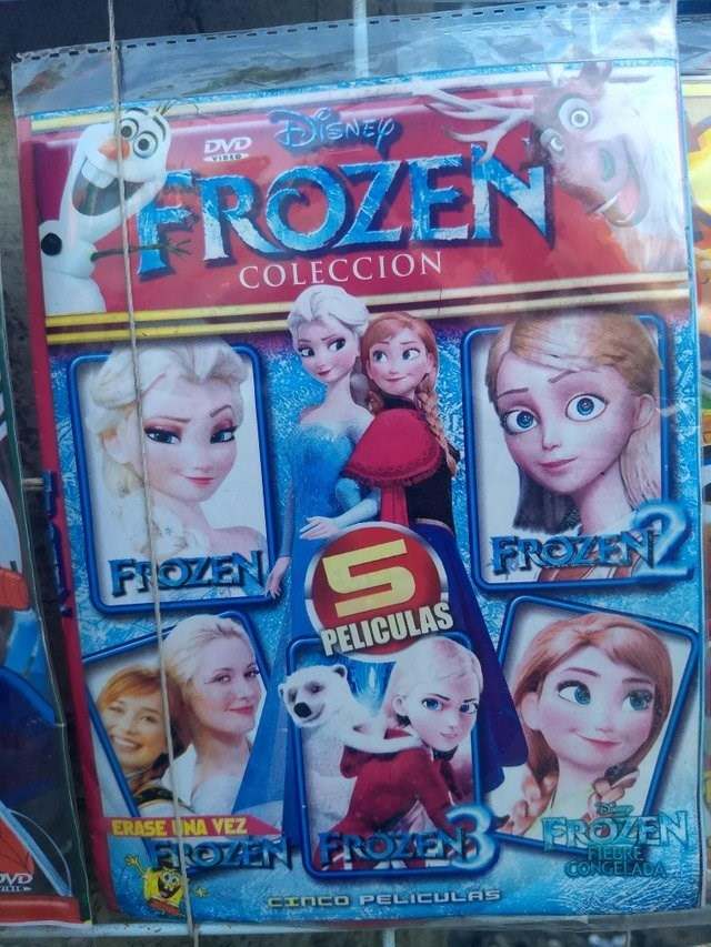 Frozen DVD collection featuring different knockoff movies