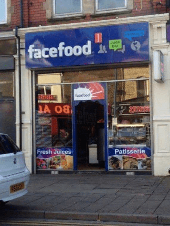 restaurant named after Facebook with sign similar to the Facebook design