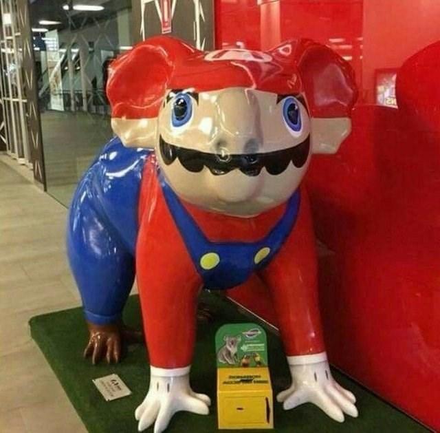 koala statue painted to look like Mario