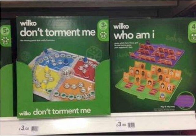 "Wilko's knockoff games ""don't torment me"" and ""who am I"""