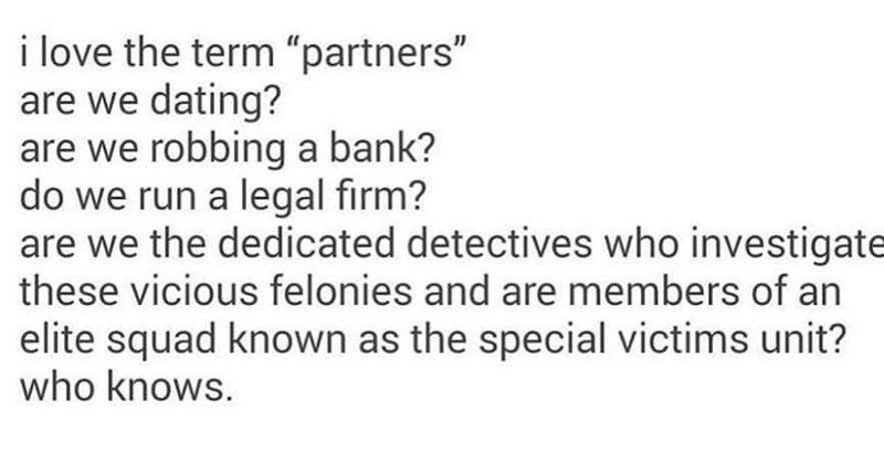 "Text - i love the term ""partners"" are we dating? are we robbing a bank? do we run a legal fırm? are we the dedicated detectives who investigate these vicious felonies and are members of an elite squad known as the special victims unit? who knows."