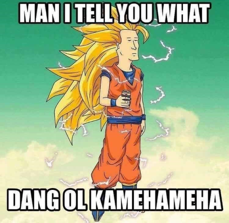 King of the Hill meme with Boomhauer as Super Sayian