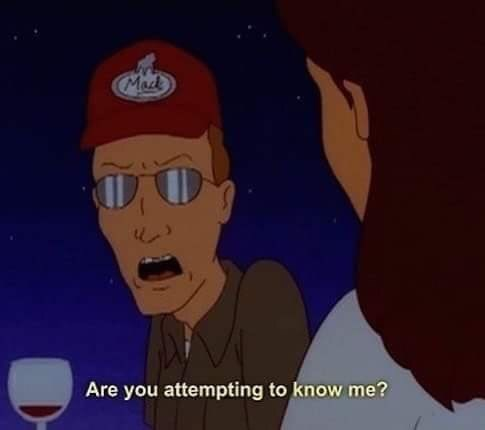 Dale from King of the Hill angrily reacting to woman attempting to know him