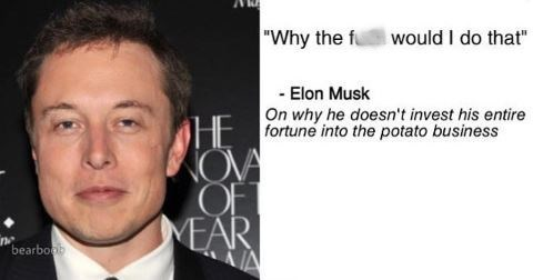 "Pic of Elon Musk with text next to it that reads, ""'Why the f*ck would I do that' - Elon Musk on why he doesn't invest his entire fortune into the potato business"""