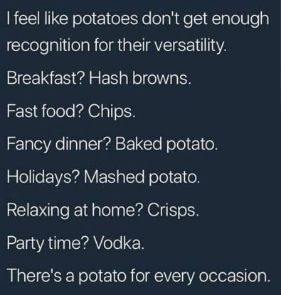 Text - I feel like potatoes don't get enough recognition for their versatility. Breakfast? Hash browns. Fast food? Chips. Fancy dinner? Baked potato. Holidays? Mashed potato. Relaxing at home? Crisps. Party time? Vodka. There's a potato for every occasion.