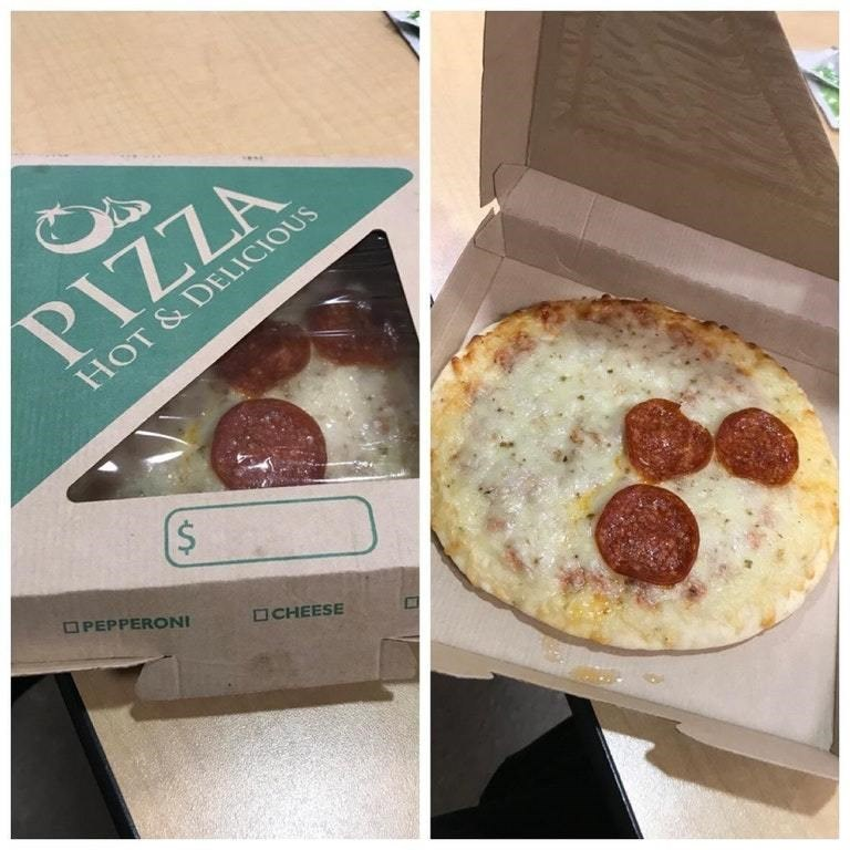 picture of premade pizza with few pepperoni slices only where the wrapping is see through