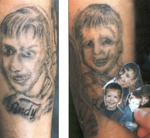 bad tattoos of children's portraits making them appear monstrous