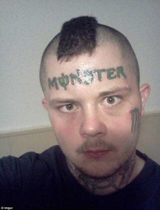 man with Monster drink inspired face tattoos