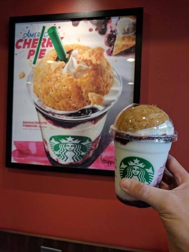 pic of American Cherry Pie inspired Starbucks drink in Japan