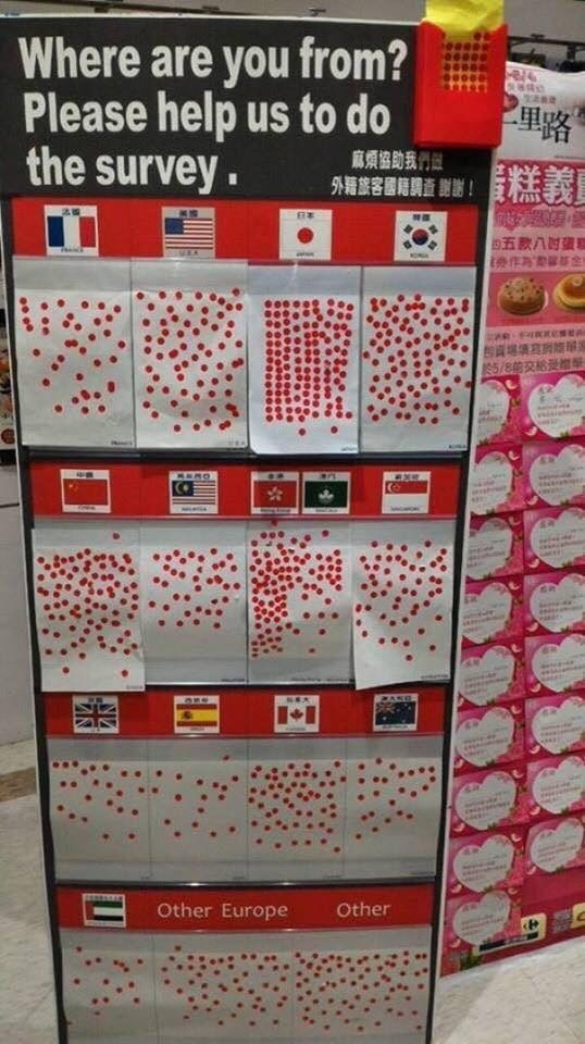 pic of wall in Japan asking visitors to add stickers to their home country