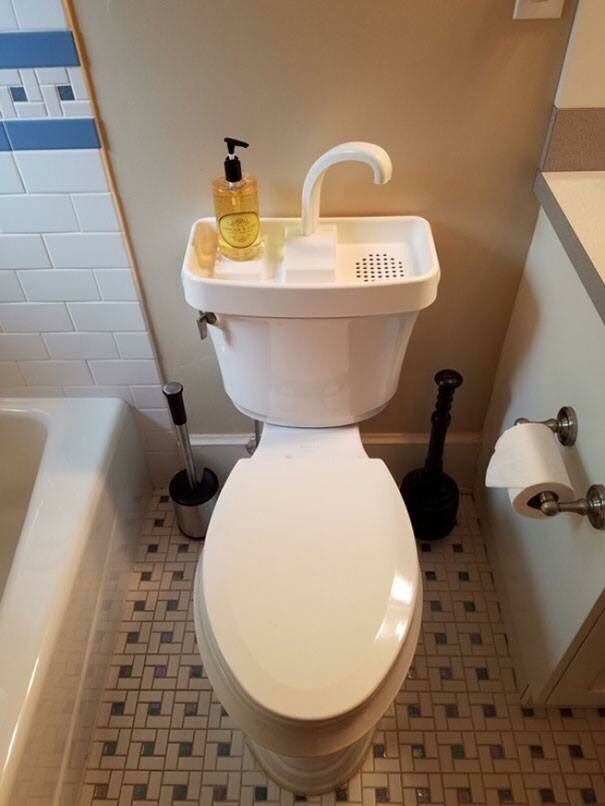 pic of sink built on top of a toilet's tank