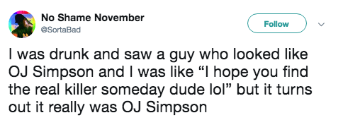 """tweet post about telling the real OJ Simpson """"i hope you find out who the real killer is"""""""
