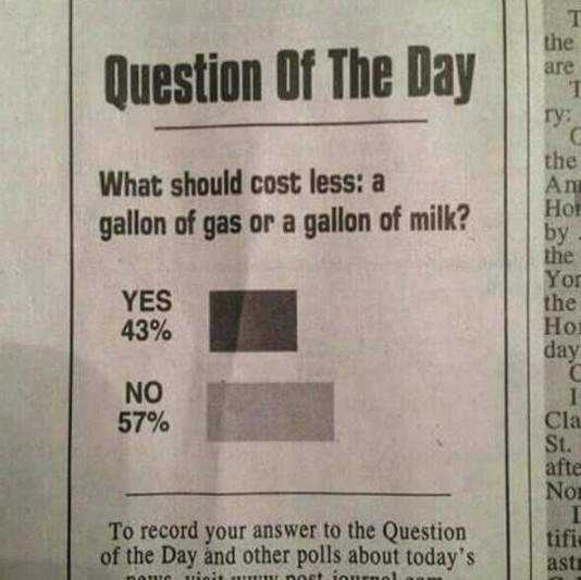 image of whether a gallon of glass or milk should cost less and the answer is yes or no