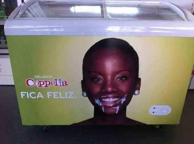 image of a ice cream freezer and girl on it with white cream melted on her face