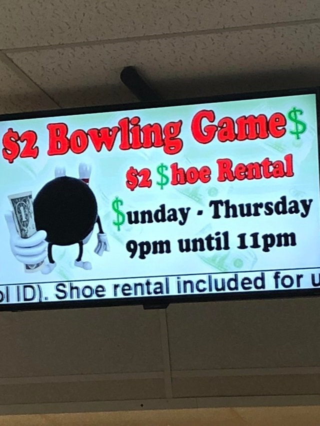image of a bowling alley and the letter s is changed to a dollar sign