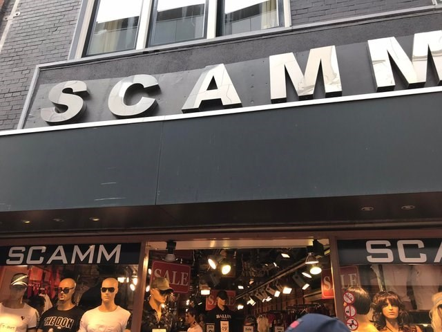 image of a clothing store and the name is scamm