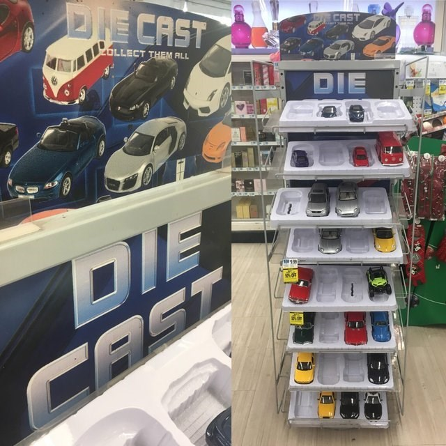 image of a stand of toy cars that is called 'die cast'