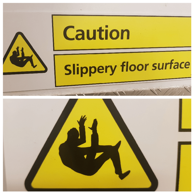 image of caution, slippery floor and the man on the sign is falling